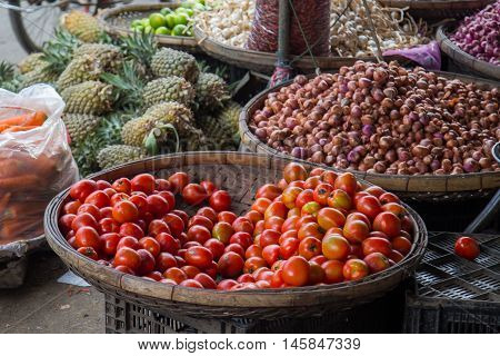 market asia fruit food pineaple tomato vegetables street