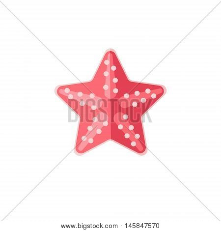 Pink Starfish Primitive Style Childish Sticker. Marine Animal Minimalistic Vector Illustration Isolated On White Background. poster