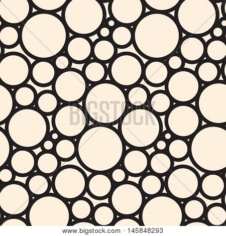 Dot circle lace seamless pattern net. Black cell textile openwork knit. Texture hosiery knit.