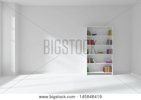 Minimalist interior of empty white room with white floor and wall illuminated by sunlight from the window and the bookcase with many colored books about wall 3D illustration