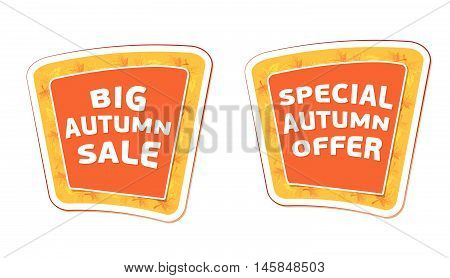big sale and special offer autumn banners - text in orange labels, business fall seasonal concept, vector