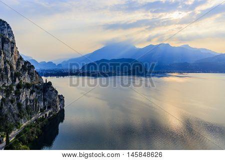 Sentiero della Ponale over Garda Lake with Riva del Garda on the background.