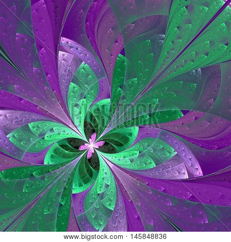Beautiful diagonal fractal flower or butterfly in stained-glass window style. Element of decor. You can use it for invitations notebook covers phone case postcards cards wallpapers and so on.