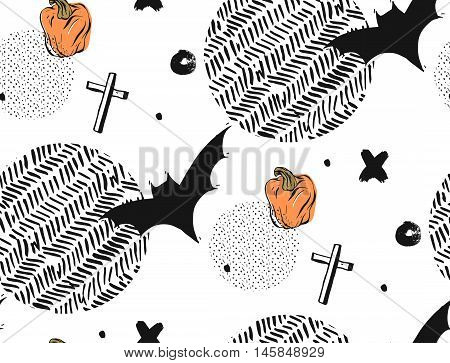 Hand drawn Seamless Halloween vector abstract textured pattern with batscrosses and pampkins.Isolated on white background with round polka dot and zig zag textures.