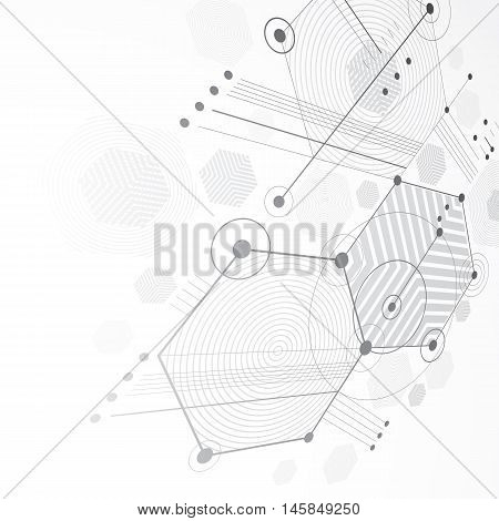 3d vector abstract grayscale background created in Bauhaus retro style. Dimensional modern geometric composition can be used as templates and layouts.