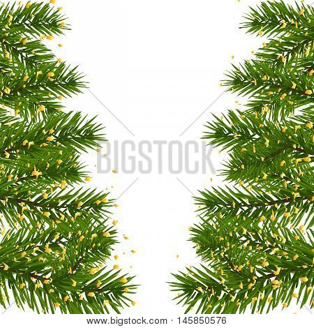 Green lush branch of spruce, with two sides decorated with gold confetti. Fir branches. Isolated on white vector illustration