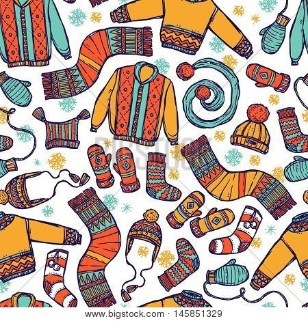 Winter Warm Knitted Clothes Seamless Pattern In Sketch Style