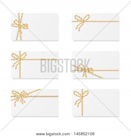 Collection of six card notes with orange bakers twine bows and ribbons, vector