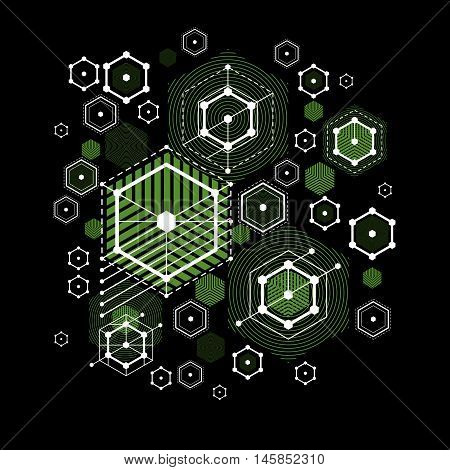 Modular Bauhaus vector green background created from simple geometric figures like hexagons circles and lines.