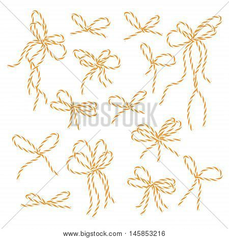 Collection of orange bakers twine bows on white background, vector