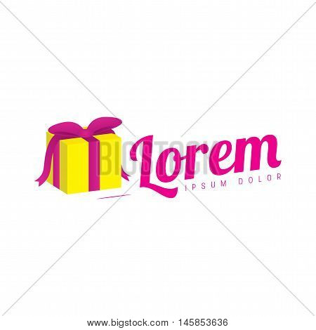 Girly Logo. Yellow and pink present / gift logo vector design