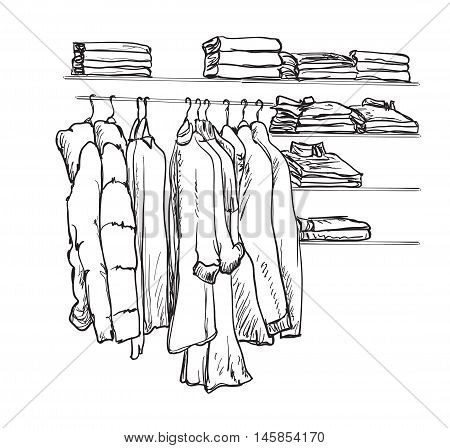 Hand drawn wardrobe sketch. Room interior with wardrobe. Clothes on the hangers