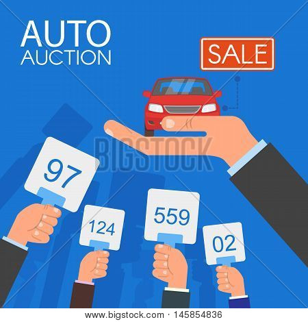 Auction and bidding concept vector illustration in flat style design. Selling car.