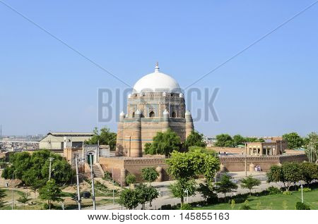 MULTAN, PAKISTAN - AUGUST 31, 2016: View of Tomb of Shah Rukn-e-Alam in Multan Pakistan.