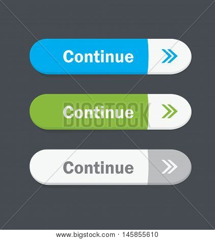 Set of vector web interface buttons. Continue.