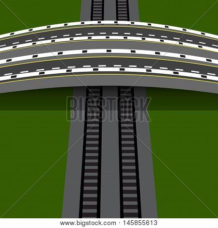 Car overpass crossing the railway. An arch bridge. Vector illustration