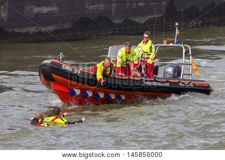 ROTTERDAM NETHERLANDS - SEP 3 2016: Search And Rescue demonstration during the World Harbor Days.