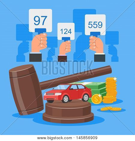 Auction and bidding concept vector illustration in flat style design. Selling car from auction.