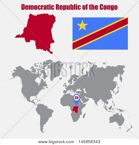 Democratic Republic of the Congo map on a world map with flag and map pointer. Vector illustration