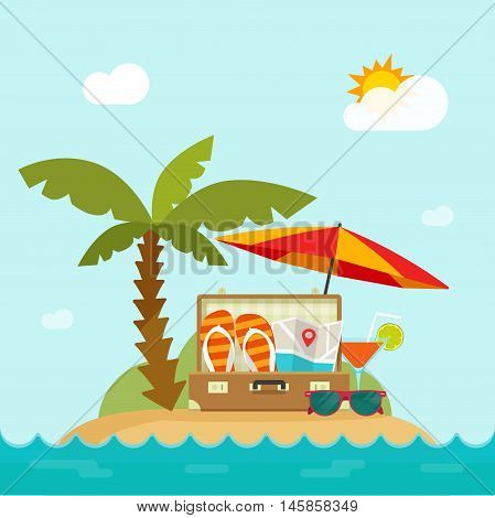 Summertime trip vector illustration, flat cartoon resort island, sea landscape, beach, concept of happy summer holiday banner design, traveling season,