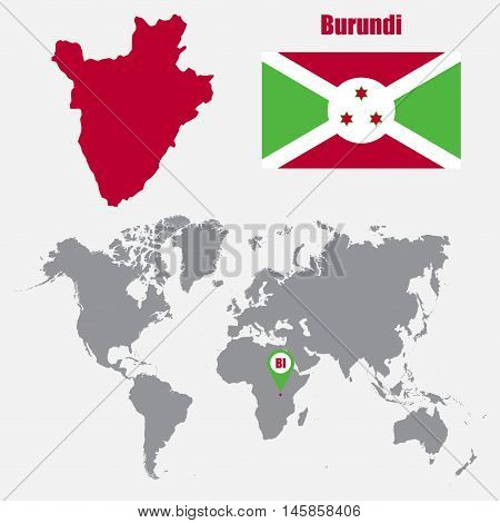 Burundi map on a world map with flag and map pointer. Vector illustration