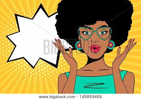 Wow pop art face. Sexy surprised african woman with open mouth, glasses in form of heart and speech bubble. Vector colorful background in pop art retro comic style.