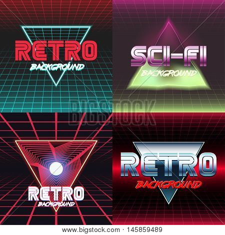 Set of vhs design covers. Retro style. Vector EPS10.