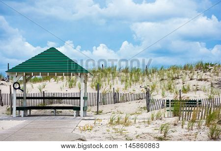 The sand dunes along the ocean in Seaside Park in New Jersey.