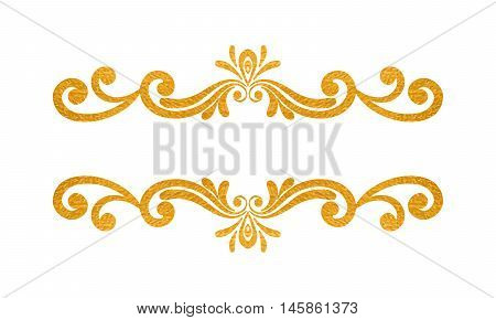 Elegant luxury vintage gold floral hand drawn decorative border or frame on white background. Refined vignette element for banner invitation menu postcard greeting card flyer. Vector illustration