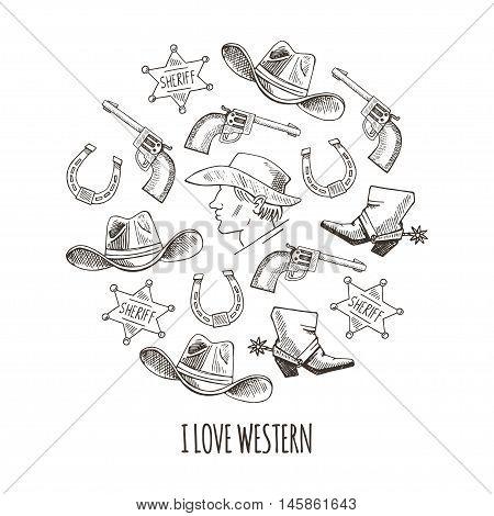 Western Hand Draw Sketch Vector Set.