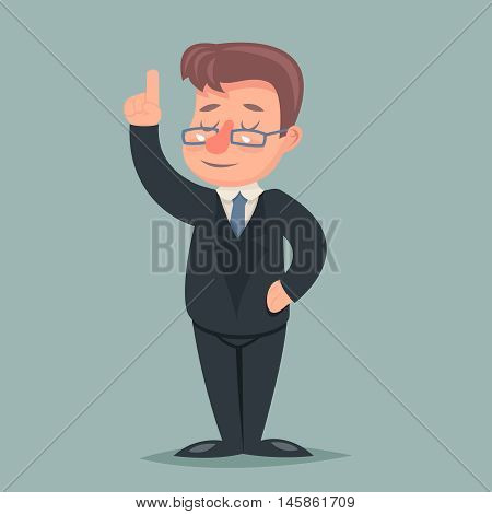 Pointing up Finger Businessman Idea Solution Advice Character Icon Retro Cartoon Vector Illustration