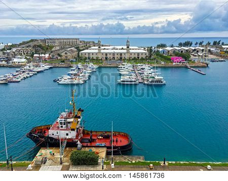 KINGS WHARF BERMUDA MAY 25 - A scenic view of the Royal Naval Dockyard on May 25 2016 in Bermuda.