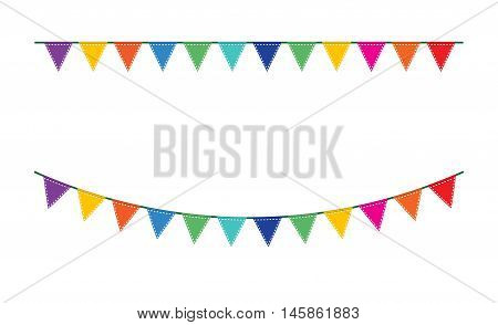 Bunting festive flags and garland festive flags set. Colorful festive flags vector illustration. Elements festive flags celebrate, party or festival design festive flags. Triangle celebrate festive.