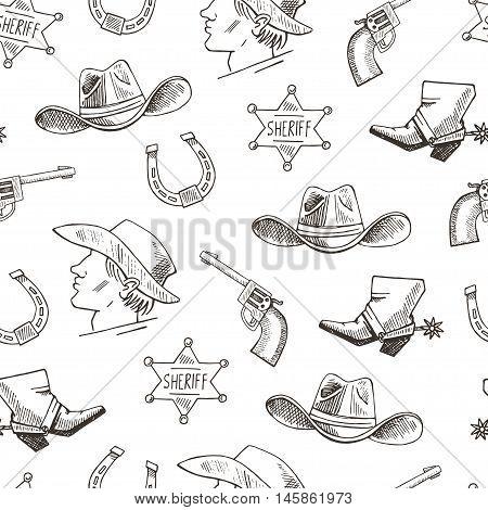 Western Hand Draw Sketch Vector Seamless Pattern.