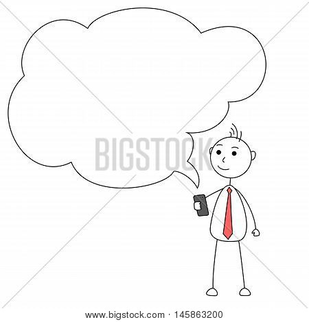 Cartoon businessman holding a cellphone with empty talk bubble