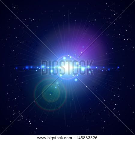 Space bright blue flash light. Futuristic vector background with lens flares beams and sparkles