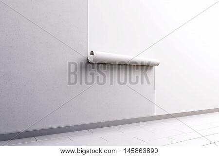 Blank white wallpaper hanging on the wall mock up side view clipping path 3d rendering. Paperhanging surface mockup. Home decoration tapestry scroll template. Blanket canvas in the room interior.