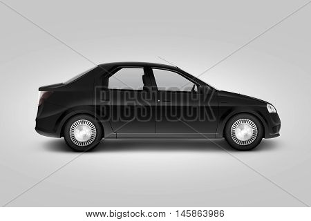 Blank black car design mockup isolated side view clipping path 3d illustration. Dark auto body mock up profile. Plain vechicle corporate branding. Sedan motor car presentation. Simple city machine