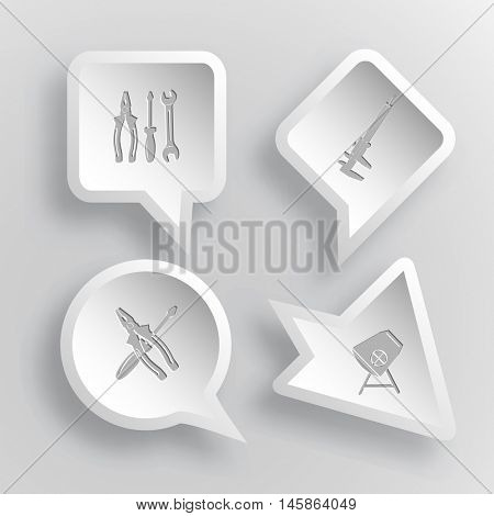 4 images: tools, caliper, screwdriver and combination pliers, concrete mixer. Industrial tools set. Paper stickers. Vector illustration icons.