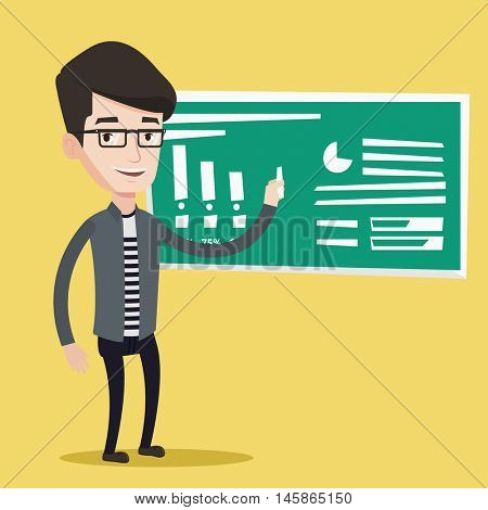 Young friendly teacher standing in classroom. Teacher standing in front of the blackboard with a piece of chalk in hand. Teacher writing on a chalkboard. Vector flat design illustration. Square layout