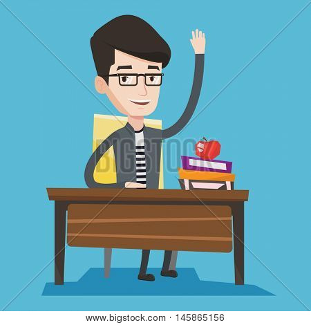 Student raising hand in the classroom for an answer. Happy student sitting at the desk with raised hand. Clever schoolboy raising his hand at lesson. Vector flat design illustration. Square layout.