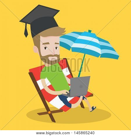 A hipster graduate lying in chaise long. Graduate in graduation cap working on laptop. Graduate studying on a beach. Concept of online education. Vector flat design illustration. Square layout.
