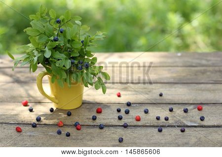 still-life with a bouquet of wild berries in yellow cup on the old wooden table in the garden on a sunny summer day / still life with wild berries