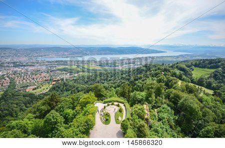 Uetliberg Hill look point in Zurich, Switzerland