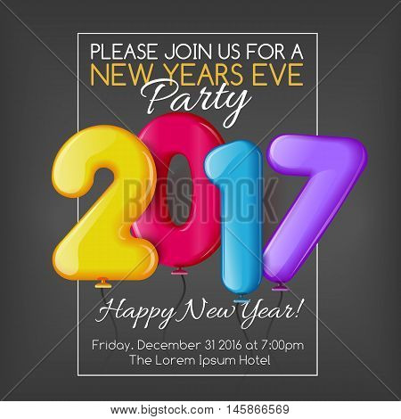 Merry Christmas and Happy New Year 2017 party invitation template, vector illustration. Bright and colorful New Year and Xmas greeting card, poster, banner, invitation design with numbers as balloons