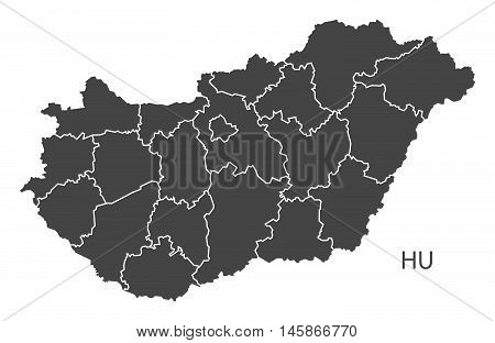 Hungary grey map with regions isolated vector high res