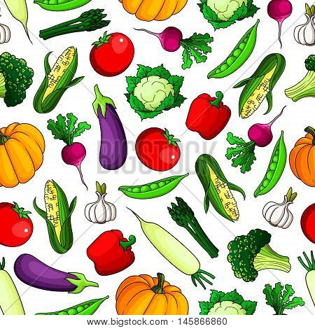 Fresh farm vegetables seamless background. Wallpaper with icon pattern of fresh vegetarian food tomato, pepper, corn, paprika, radish, pumpkin, broccoli, cauliflower, garlic, pea for grocery store, food market, product shop, tablecloth