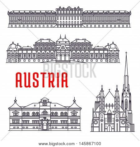 Historic architecture buildings of Austria. Vector thin line icons of Schonbrunn Palace, St. Stephen Cathedral, Belvedere, Hellbrunn Palace. Austrian showplaces symbols for souvenirs, postcards, decoration