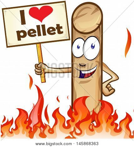 pellet cartoon with signboard on white background