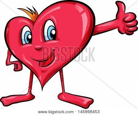 heart cartoon with thumbs up on white background